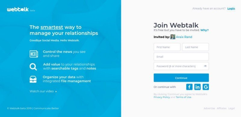 Webtalk is a social networking website similar to Linkedin